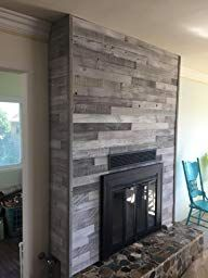 Plank and Mill Reclaimed Barn Wood Wall Panels - Simple Peel & Stick Natural Aged Planks - 1 Sq Ft Sample Pack of 5 & Wide: Whitewashed & Classic Barn Wood Reclaimed Barn Wood, Rustic Wood, Wood Planks, Wood Paneling, Wood Panel Walls, Cozy Fireplace, Raw Wood, Rustic Walls, Modern Traditional