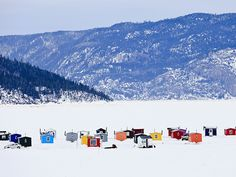 Yves Marcoux Solid-Faced Canvas Print Wall Art Print entitled Ice Fishing Huts On Saguenay River, Saguenay Lac-Saint-Jean, Quebec, Canada Ice Fishing Huts, Wall Art Prints, Poster Prints, Lac Saint Jean, Destinations, National Geographic Travel, Fjord, Canada Travel, Quebec