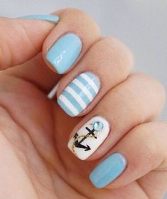 Calm Colors Stripes and Anchor Nail Art for Summer