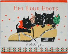 808 30s ART Deco Scottie Dogs IN THE Shoe Vintage Christmas Greeting Card | eBay