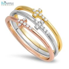 Rose Gold Pink Gold 3 Band Sideways Cross Ring Russian Diamond Clear CZ Rose Gold Plated 925 Sterling Silver Religious Everyday Ring