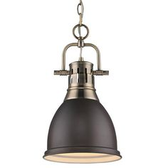 Classic Dome Shade Pendant Light antique_brass_and_rubbed_bronz Small Pendant Lights, Contemporary Pendant Lights, Kitchen Pendant Lighting, Modern Pendant Light, Contemporary Decor, Mini Pendant, Industrial Style Lighting, Cool Lighting, Lighting Design