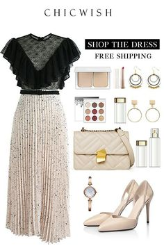 women's fashion style outfit and outfit grids inspirations style grid for women fashion for women Classy Outfits, Cool Outfits, Look Fashion, Womens Fashion, Fashion Tips, Pleated Midi Dress, Looks Chic, Church Outfits, Mode Inspiration