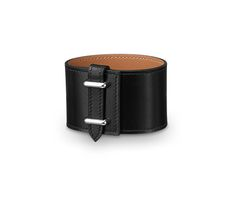 """Izy Hermes leather bracelet (size S)  Black box calfskin  Palladium plated hardware, 2.25"""" diameter, 6.7"""" circumference. <br><br><span style=""""color: #F60;"""">This item may have a shipping delay of 1-3 days.</span><br><br>"""