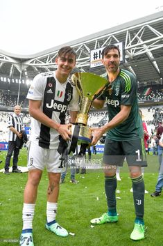 Paulo Dybala and Gianluigi Buffon of Juventus celebrate during the serie A match between Juventus and Hellas Verona FC at Allianz Stadium on May 2018 in Turin, Italy. Turin Italy, Football Boys, Verona, My Friend, Jeep, Celebrities, Pictures, Football Pictures, Photos