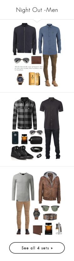 """Night Out -Men"" by ndrladybug ❤ liked on Polyvore featuring Belstaff, Lyle & Scott, Versace, FOSSIL, Ray-Ban, Paco Rabanne, men's fashion, menswear, Balmain and Alexander McQueen"