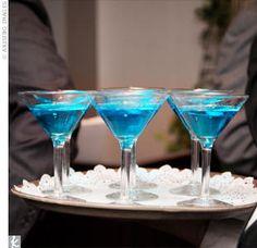 bright blue martini glasses!! Delicious martinis! Summer colors