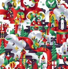 Global christmas campaign illustrations for H&M by Janine Rewell.  Used in all packaging, in-store material, animations, gift cards and window displays etc.