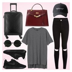 """""""aiport style #2"""" by fashionstylenoww ❤ liked on Polyvore featuring Monki, New Look, NIKE, Chanel and Hermès"""
