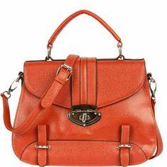 Orange Structured Top Handle Bag