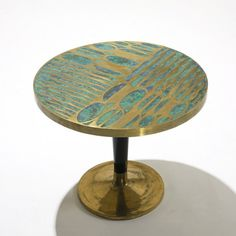 Pepe Mendoza occasional table  Mexico, c. 1960  brass, ceramic, lacquered wood