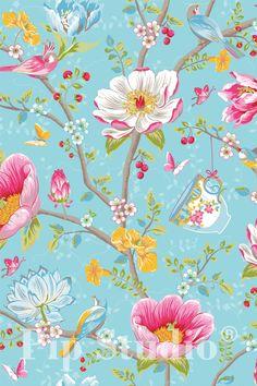 PiP Chinese Garden Light Blue wallpaper