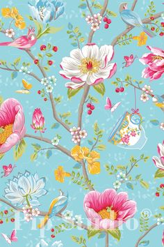 PiP Chinese Garden Light Blue wallpaper