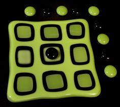 Lime green fused glass tic tac toe board. Cool huh?