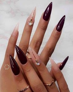 🍷 Have You Tried these 70+ Elegant Chic Classy Nails Design Art Loved By Both Saint & Sinner? Do you know Burgundy Colors represent Ambition,Wealth,Power & Fearless Love? #NotStayingBlueToday #BurgundyColors 🍬  acrillic nails easter nails pedicured nails acylic nails hallowen nails december nails nails halloween shallac nails bergundy nails october nails november nails creative nails gelish nail coffin nail ideas bday nails nails chevron stiletto nails orange nails