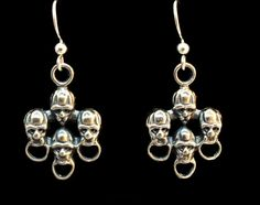 """Until Death, Inc. """"Ancient Faces"""" Dangle Earring Pair Stamped .925 Sterling Silver."""