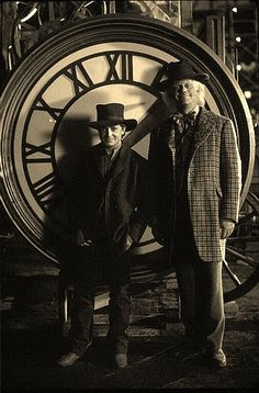 Michael J. Fox and Christopher Lloyd as Marty and Doc in Back to the Future Part III (1990).