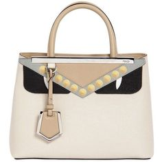Fendi Women Small 2jours Bugs Leather Top Handle Bag (6.721.070 COP) ❤ liked on Polyvore featuring bags, handbags, shoulder bags, beige, white handbag, genuine leather shoulder bag, fendi purse, studded purse and beige leather handbags
