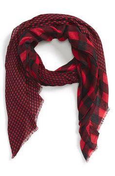 Mixed buffalo check scarf