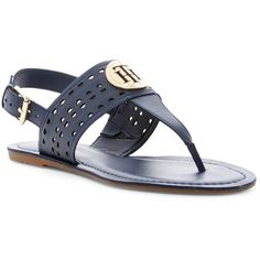 Tommy Hilfiger Larken Slingback Thong Sandal (125 ILS) ❤ liked on Polyvore featuring shoes, sandals, tommy hilfiger footwear, sling back sandals, toe thong sandals, sling back shoes and slingback shoes