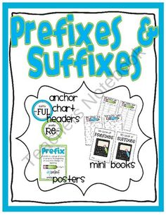Prefixes and Suffixes – Anchor Chart Headers, Mini Books, Posters product from R-is-for-Reading on TeachersNotebook.com