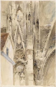 yama-bato: John Ruskin Entrance to the South Transept of Rouen Cathedral 1854 link Gothic Architecture, Architecture Details, Honfleur, John Ruskin, Amiens, Rouen, Watercolor Art, Art Nouveau, Illustration Art