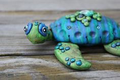 Blue Green Sea Turtle Polymer Clay Sculpture by mirandascritters, www.facebook.com/mirandascritters or www.mirandascritters.etsy.com