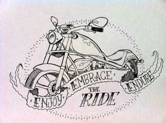 Motorcycle drawing in ink by SeaGypsyBoutique on Etsy, $10.00