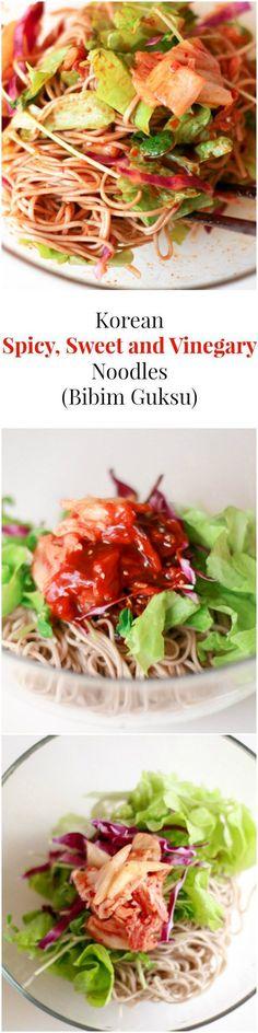 Addictively delicious: Korean Spicy, Sweet and Vinegary Noodles (Bibim Guksu) | MyKoreanKitchen.com