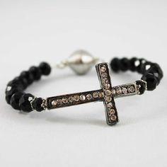 Black Sideways Cross, Magnetic Clasp Bangle