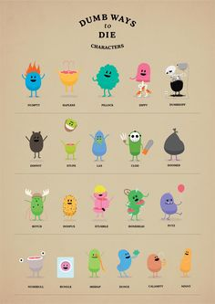 Dumb Ways to Die Characters Simple Character, 2d Character, Cute Illustration, Character Illustration, Cute Characters, Cartoon Characters, Dumb Ways, Board Game Design, Little Monsters