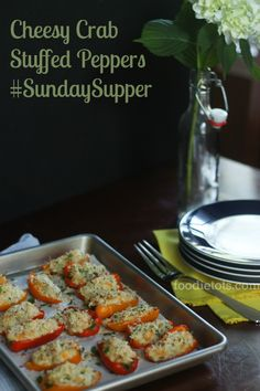 Cheesy Crab Stuffed Peppers with @WisconsinCheese #SundaySupper