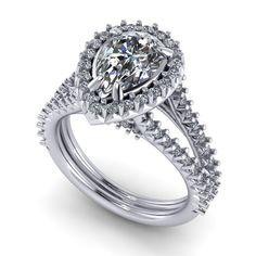 1.43ct Pear Shaped Diamond Halo Split Shank Ring at Yatesjewelers.com