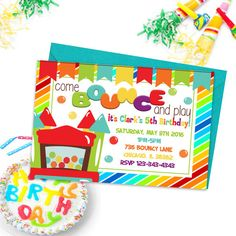 Bouncy Castle Party Invitations Kids Birthday by PrintYourInvite #bouncycastleinvitations #kidspartyprintables #birthdayparty #birthdayinvitations #kidsprintableinvites #printableinvitations #partyprintables #kidspartyinvites #bouncycastle #bounceandplay