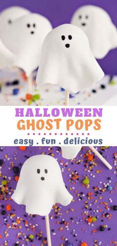 Halloween Ghost Cake Pops are easy to make and so fun! This is a simple cake pop recipe that turns into an epic Halloween-themed treat! If you are having a Halloween Party yourself, these should definitely be on your to do list! Halloween Party Treats, Halloween Cake Pops, Halloween Sweets, Halloween Baking, Halloween Cookies, Halloween Birthday, Halloween Ghosts, Halloween Activities, Halloween Ideas