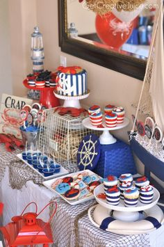 Baby Shower Table Set Up Ideas Nautical Theme 69 Ideas For 2019 Baby Shower Table, Baby Shower Themes, Baby Boy Shower, Nautical Baby Shower Cakes, Nautical Baby Shower Decorations, Decoration Party, Shower Ideas, Sailor Party, Sailor Theme