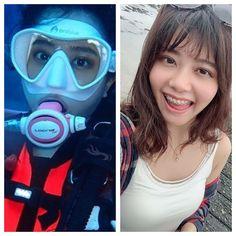 とある中華系女性ダイバーの地上と水中との姿の比較