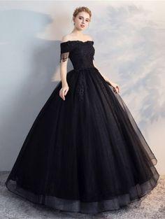 782ef2d8f6 Black Gothic Off-the-Shoulder Lace Appliqued Ball Gown Wedding Dress  Wedding Dress Black
