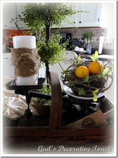 Use a gathering basket for a kitchen supplies centerpiece <3 functional yet artistic clutter ;)