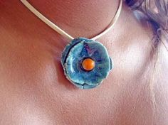 Handmade ceramic  necklace blue and orange  VIOLETA by azulado, $17.00
