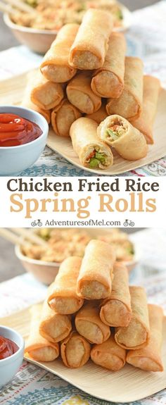 Chicken Fried Rice Spring Rolls are fried to perfection, so crispy and delicious. Fill them with Chicken Fried Rice or a healthier alternative, Cauliflower Chicken Fried Rice. Easy recipe for your favorite takeout side. Rice Paper Recipes, Recipe Paper, Egg Roll Recipes, Wrap Recipes, Rice Paper Rolls Fillings, Asian Recipes, Sweet Recipes, Easy Spring Rolls, Rice Paper Spring Rolls