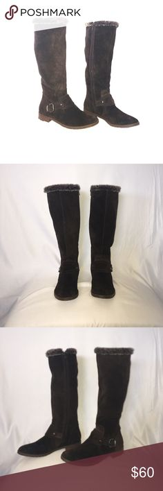 Alfani Boots Faux Fur lined, swayed material boot. Boots are in excellent condition. Alfani Shoes Heeled Boots