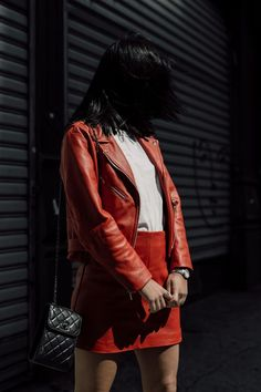 LA Blogger Tania Sarin in NYC wearing Veda red leather jacket and red leather skirt