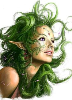 Fantasy Character, Female Elf with green hair -- ✿¸. Character Portraits, Character Art, Character Inspiration, Fantasy Characters, Female Characters, Rpg Wallpaper, Dr Tattoo, Tattoos, Rpg Dice