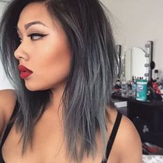 Medium length silver/grey ombre