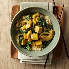 """Delicata Squash & Tofu Curry - EatingWell.com     2 tablespoons curry powder, preferably Madras     ½ teaspoon salt     ¼ teaspoon freshly ground pepper     1 14-ounce package extra-firm or firm water-packed tofu     4 teaspoons canola oil, divided     1 large delicata squash (about 1 pound), halved, seeded and cut into 1-inch cubes      1 medium onion, halved and sliced     2 teaspoons grated fresh ginger     1 14-ounce can """"lite"""" coconut milk     1 teaspoon light brown sugar     Onions…"""