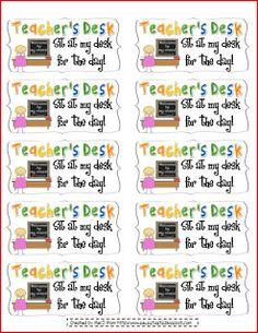 Behavior Coupons: Teacher's desk