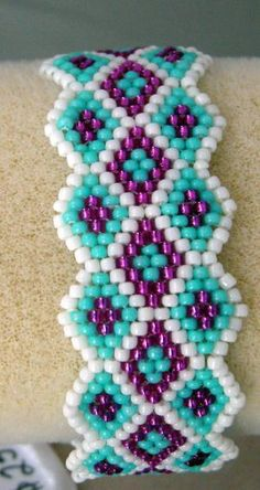 Diamond seed bead brick-stitched or peyote bracelet