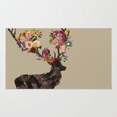 Spring Itself Deer Flower Floral Tshirt Floral Print Gift Rug