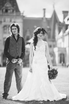 Hair and dress!!! Eat this visual feast: a rockstar groom and his spike-heeled bride at the Biltmore